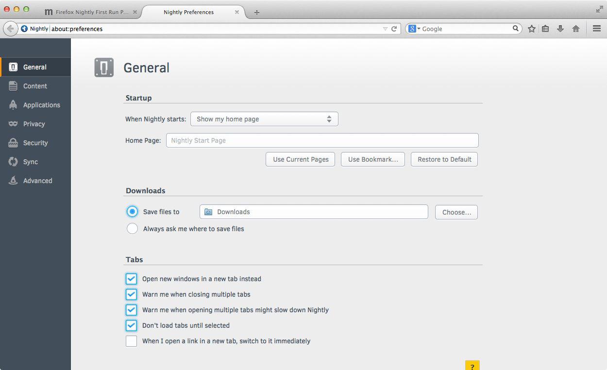 Firefox: Einstellungen im Tab kommen mit Version 32