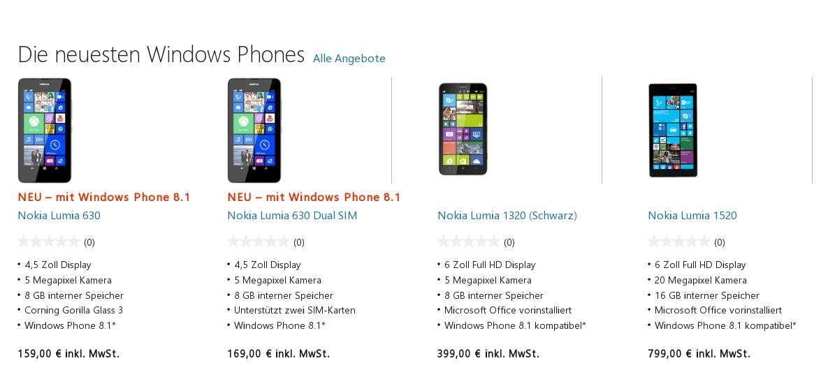 Lumia Smartphones nun auch im Microsoft Store verfügbar