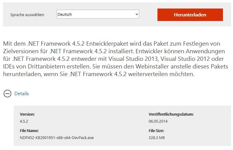 Microsoft stellt die .NET Framework 4.5.2 Dev zum Download bereit