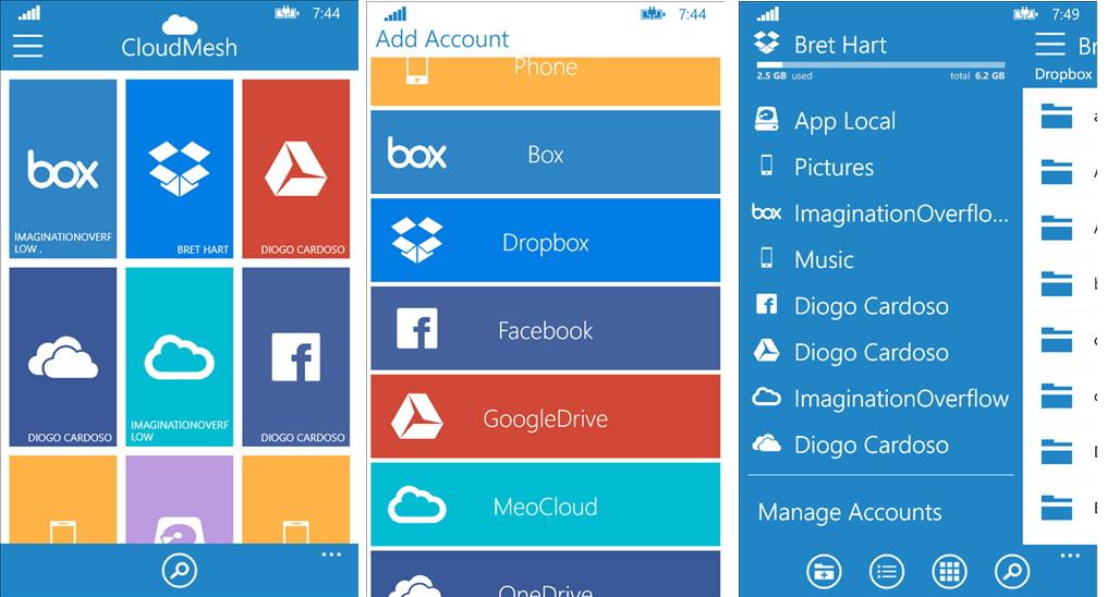 CloudMesh (Pro) eine Windows Phone App zum Verwalten von mehreren Clouds