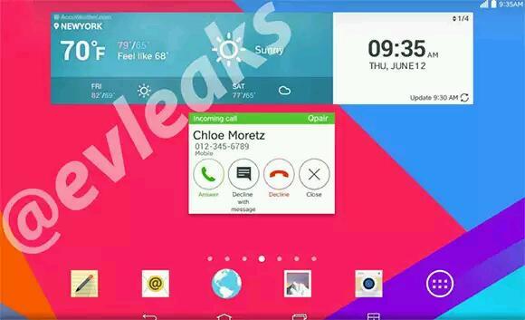 Screenshot zeigt neuen Homescreen der kommenden LG G Pads