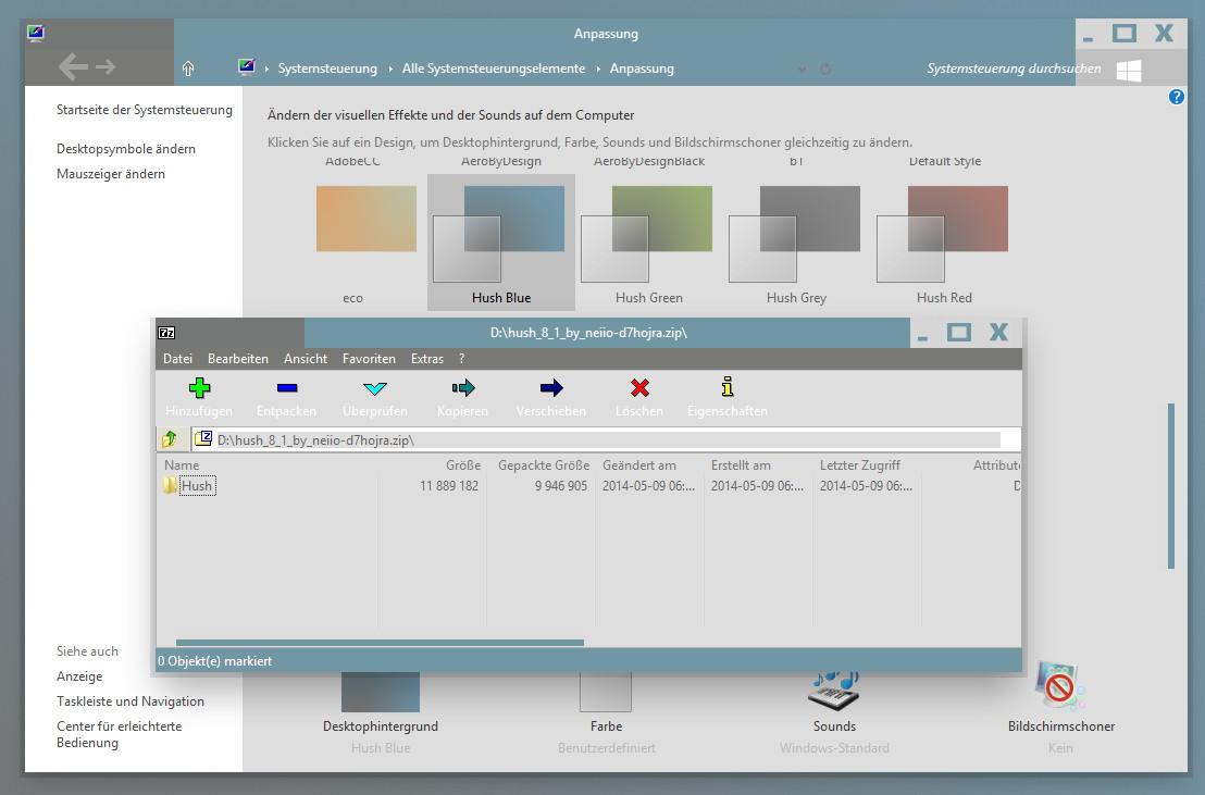 Hush Theme für Windows 8.1, 8 und 7 und schon vielen Extras