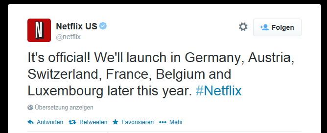 Nun ist es amtlich: Netflix kommt auch nach Deutschland