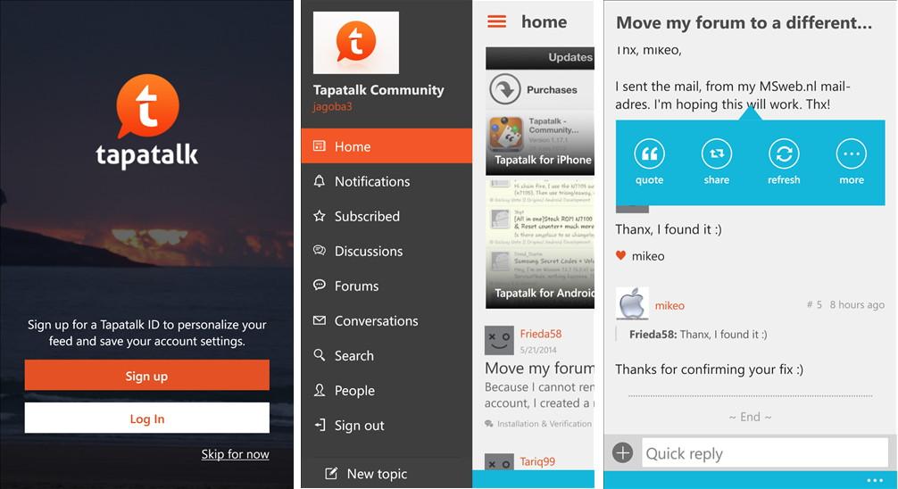 Tapatalk App für das Windows Phone mit einen Redesign