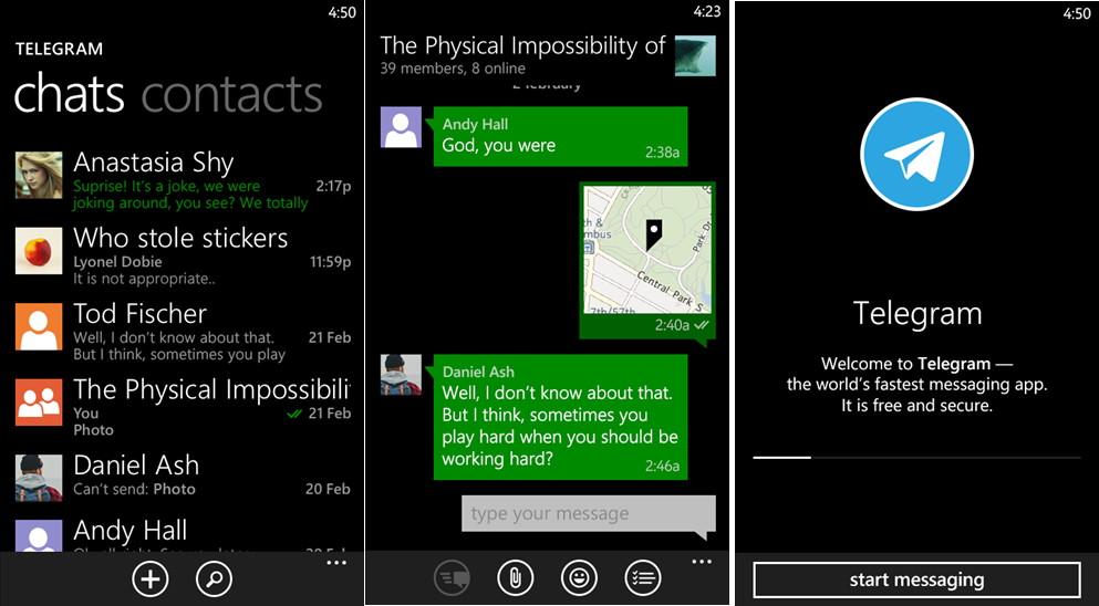 Telegram App für Windows Phone mit einem Update