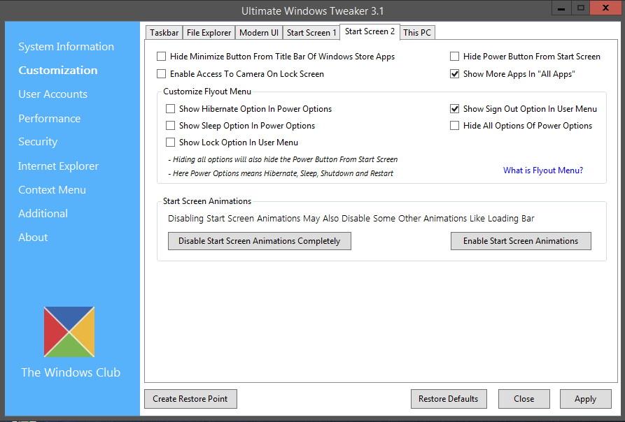 Ultimative Windows  Tweaker 3.1 für Windows 8.1 Update (1) im Test