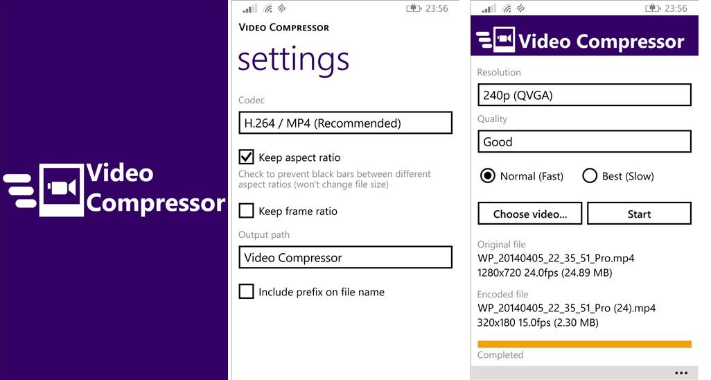 Video Compressor Videos in einer andere Auflösung speichern Windows Phone 8.1