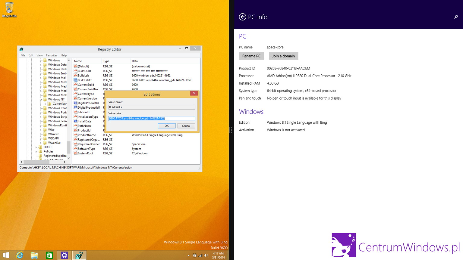 Neues Bild zur Windows  8.1 mit Bing geleakt