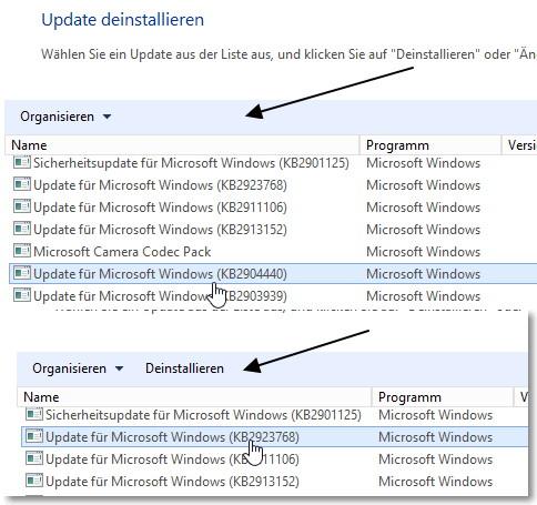 Windows Update deinstallieren, obwohl Deinstallieren nicht angezeigt wird Windows 8.1