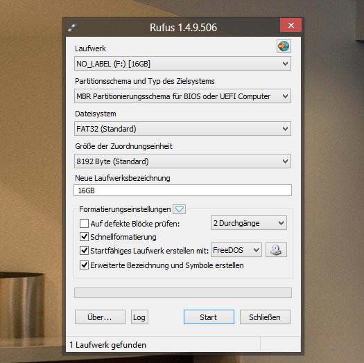 Rufus bootbare USB-Laufwerke erstellen in Version1.4.9  erschienen