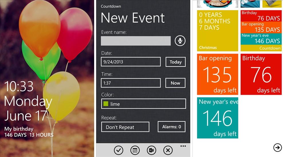 App des Tages: Countdown heute für das Windows Phone gratis