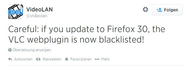 VLC-Web-Plugin im Firefox 30 wird automatisch deaktiviert