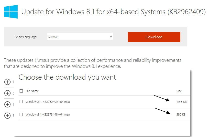 Update Rollup KB 2962409 Juni 2014 für Windows 8.1
