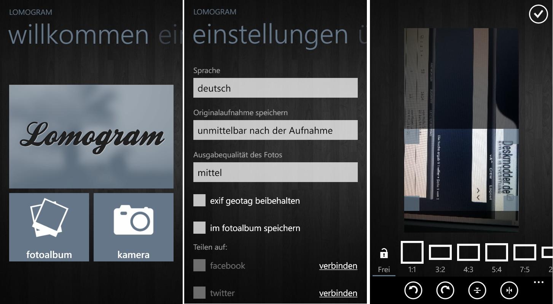 Lomogram+ – Eine  App mit Filtern, Rahmen, Lichteffekten um direkt Fotos zu bearbeiten Windows Phone