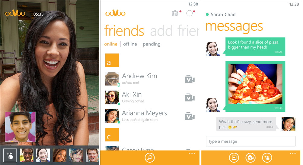 ooVoo Video Call Gratis per Video, Audio oder SMS chatten Windows Phone App