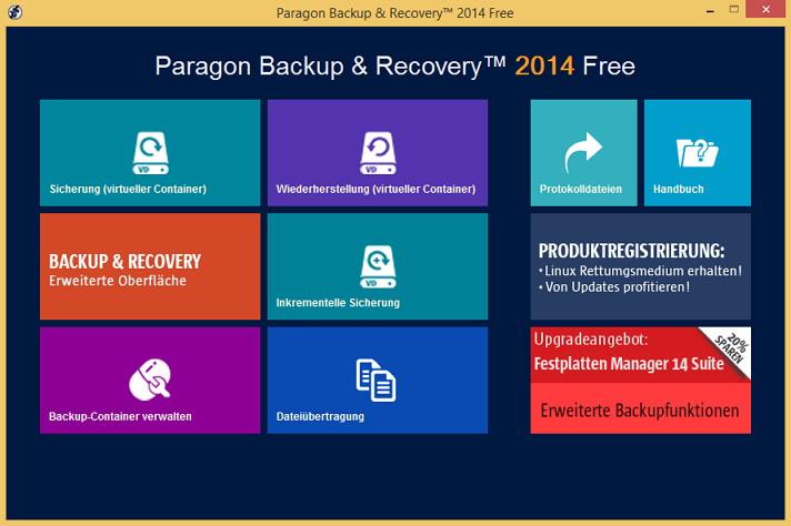 Paragon Backup & Recovery 2014 Free Edition jetzt mit Rettungsmedium