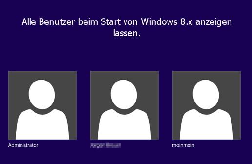 Beim Start, Login alle Accounts zur Auswahl anzeigen lassen Windows 8.1