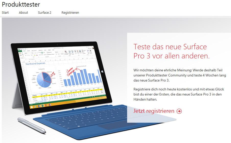 Microsoft sucht Tester für das Surface Pro 3