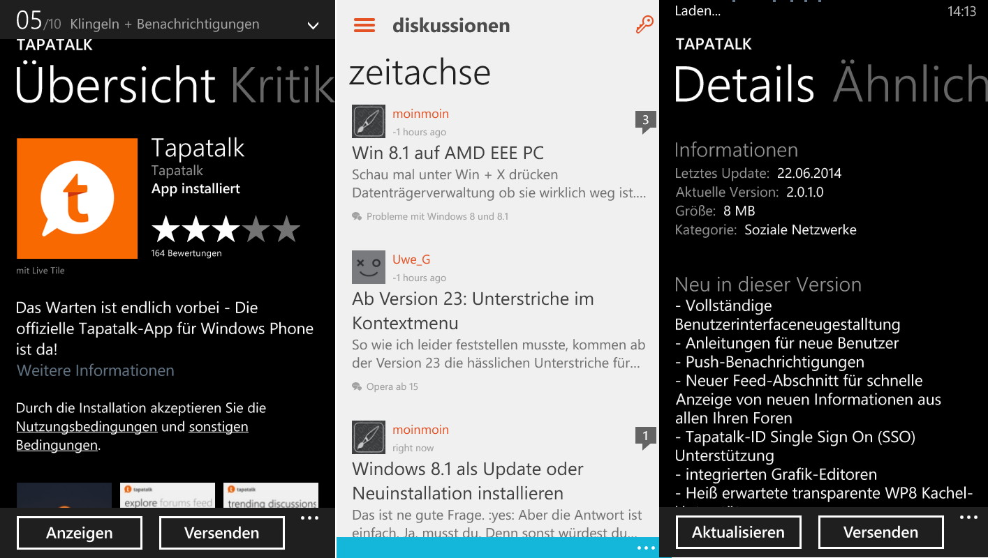 Tapatalk in der Version 2.0.1.0 für das Windows Phone erschienen