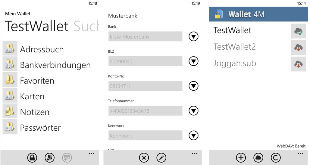 Wallet 4 nun auch als Wallet 4M im Windows Phone Store