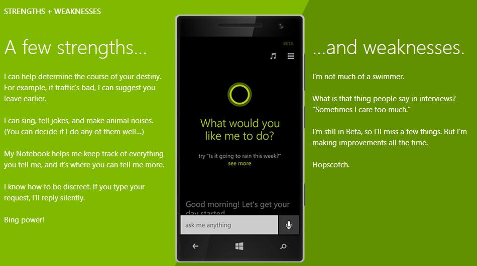 Microsoft zeigt die Stärken und Schwächen von Cortana auf einer neuen Seite