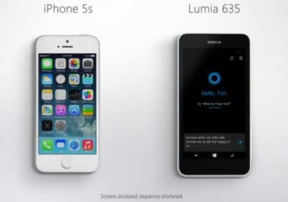 Cortana vs Siri in einem Microsoft Werbevideo