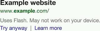 Google: Mobile Suche warnt vor nicht kompatiblen Webseiten
