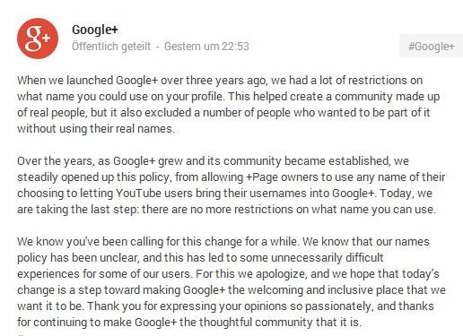 """Google+ streicht die Klarnamenspflicht. Es sind wieder """"Pseudo-Namen"""" möglich"""