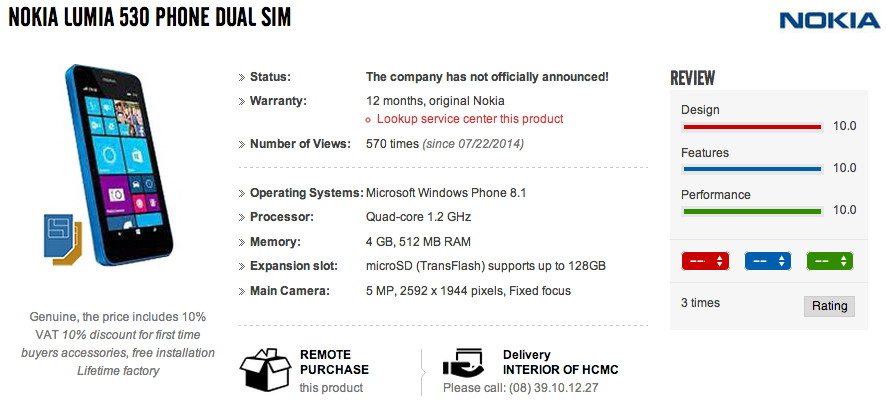Nokia Lumia 530 als Bild und mit Daten bei einem Händler aufgetaucht [Update]