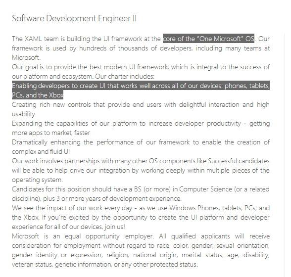 One Microsoft OS: Microsoft sucht nun Mitarbeiter