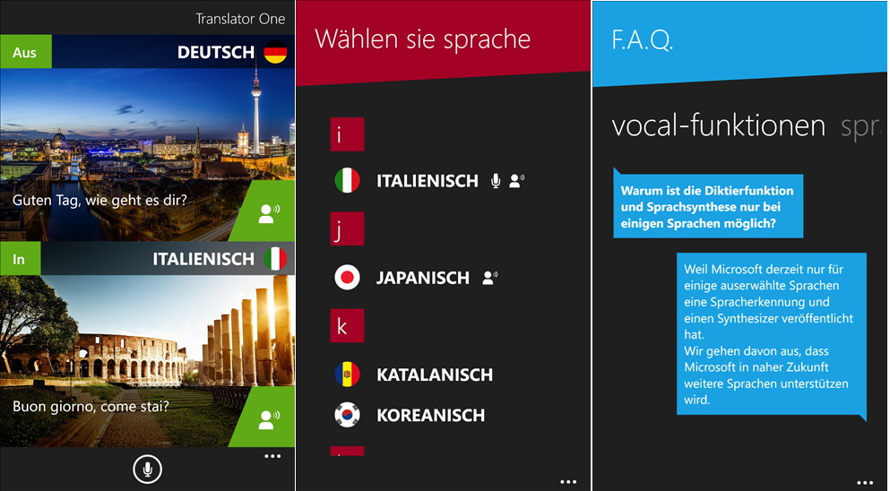 App des Tages: Translator One für das Windows Phone