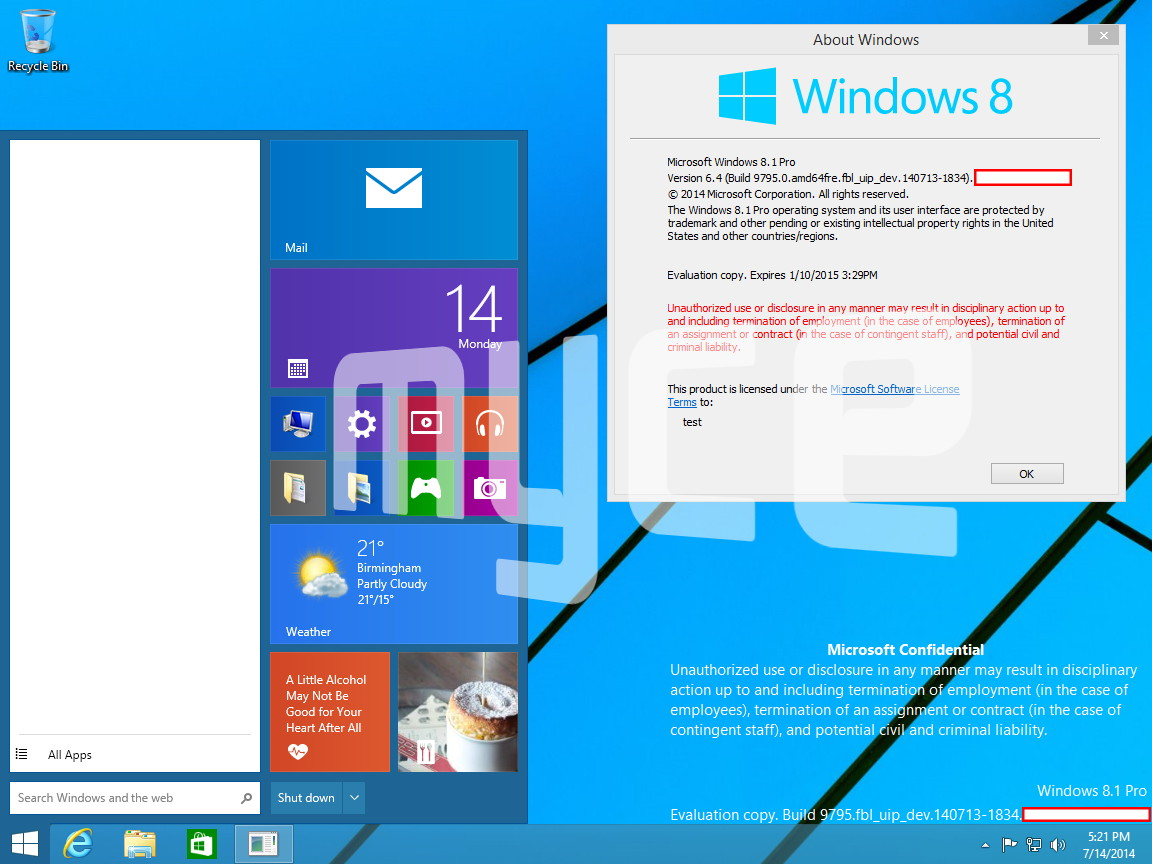 Die ersten (wirklichen) Screenshots von Windows 10, Threshold sind aufgetaucht