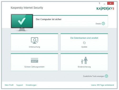 Die neue Benutzeroberfläche von Kaspersky Internet Security 2015.