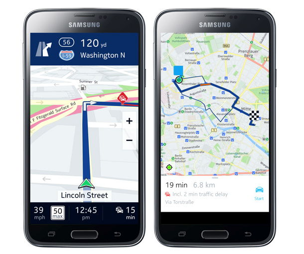 auch die samsung galaxy modelle bekommen nokia here maps. Black Bedroom Furniture Sets. Home Design Ideas
