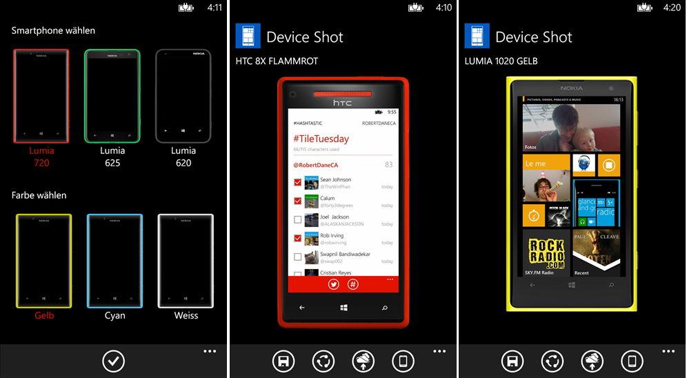 App des Tages: Mit Device Shot einen Screenshot in einem Handy-Rahmen präsentieren