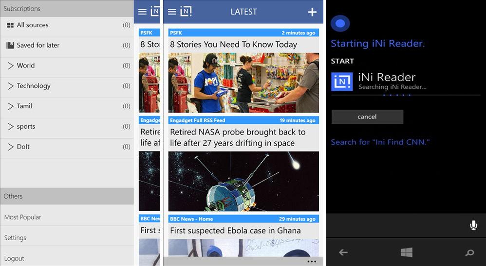 iNi Reader – Neue RSS App mit Cortana Integration (Funktion)