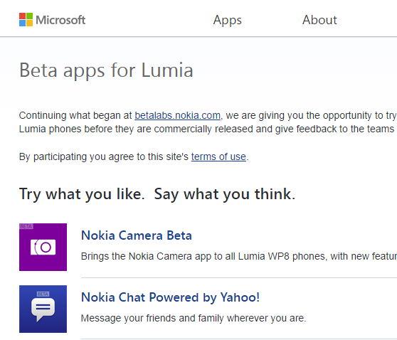 Aus NokiaBetaLabs wird nun Beta apps for Lumia