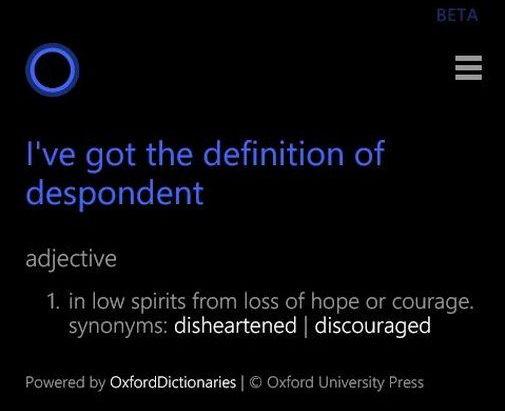 Cortana hilft nun auch bei den Definitionen einzelner Wörter