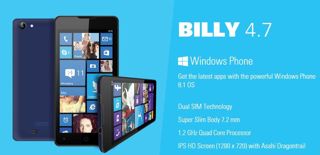 Yezz wird das dünnste Windows Phone Billy 4.7 auf der IFA präsentieren