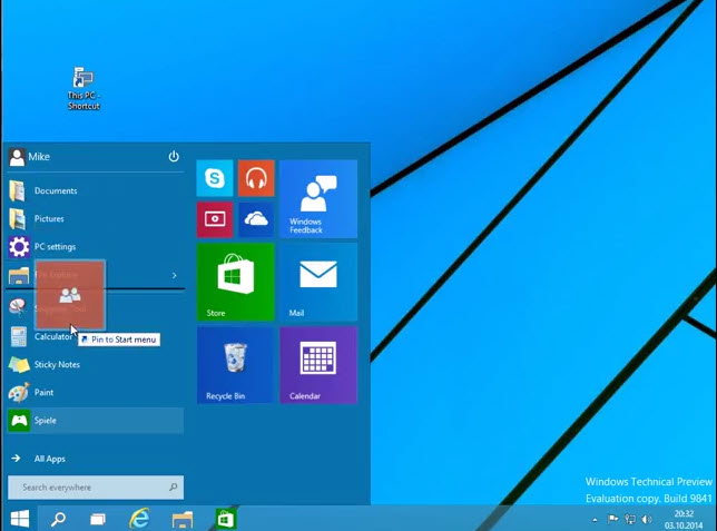 Windows 10: Apps links im neuen Startmenü anheften
