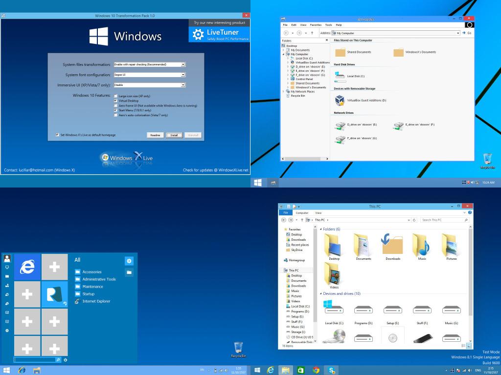 Windows 10 Transformation Pack für XP, Vista, Win 7 und Win 8/8.1 verfügbar