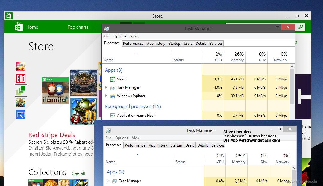 Windows 10: App schliessen und sie sind auch im Taskmanager nicht mehr zu sehen