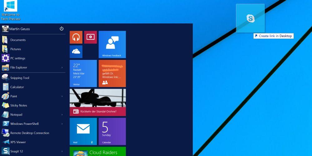 Windows 10 erlaubt das Anlegen von App-Verknüpfungen auf dem Desktop