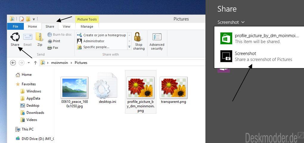 Die Funktion Teilen, Freigeben im Datei Explorer wurde unter Windows 10 erweitert