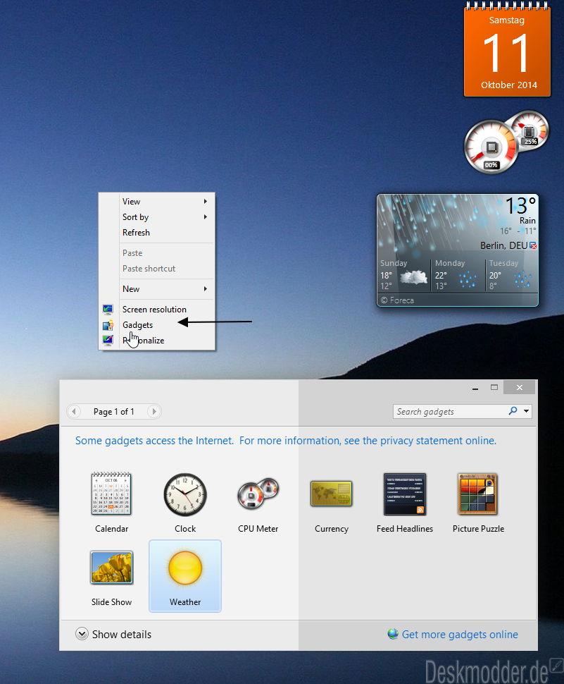 Desktop Gadgets und Sidebar unter Windows 10 installieren und anzeigen