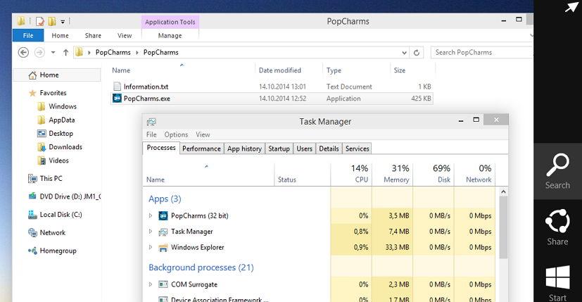 Windows 10: PopCharms.exe bringt die Charm Bar mit der Maus wieder zum Vorschein