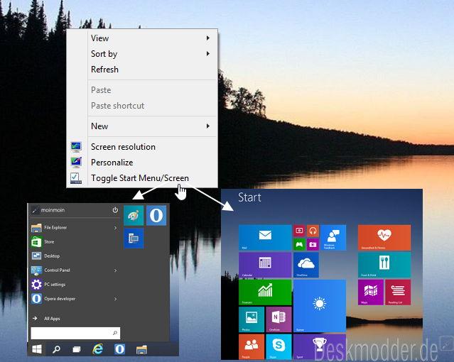 Zwischen Startmenü und Startbildschirm wechseln über das Kontextmenü Windows 10