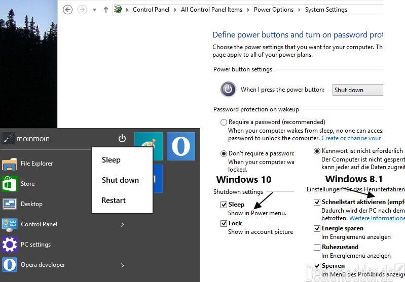 Ruhezustand als Energiesparmodus in der PC-Version ist nicht in Windows 10 enthalten