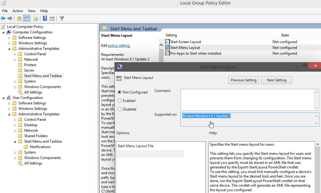 Windows 8.1 Update 2 findet sich in den Gruppenrichtlinien wieder
