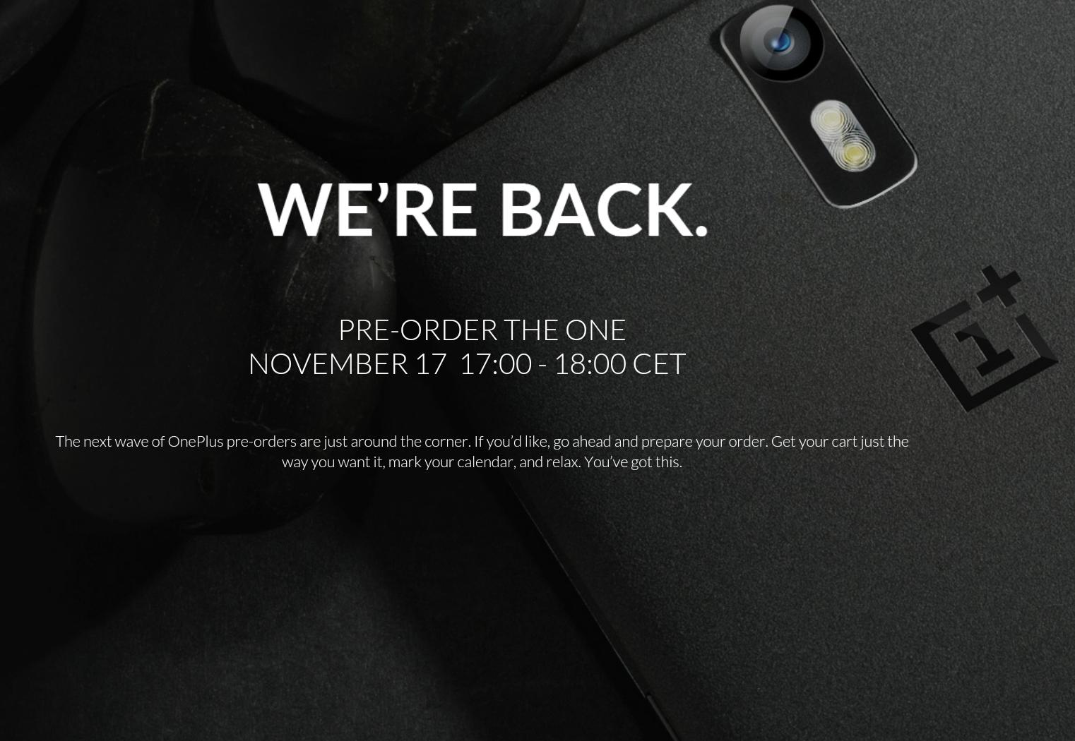 OnePlus One am 17.November wieder vorbestellbar